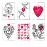 Valentindaguppsättning för feriehälsningkort vektor illustrationer