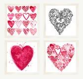 Valentindaguppsättning för feriehälsningkort stock illustrationer