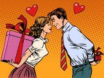 Valentindagvänner man och kvinna med gåvor stock illustrationer