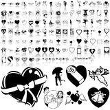 Valentinday set of black sketch. Part 1. Stock Photo