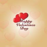 Valentine's与心脏形状的天背景 向量例证