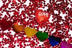 Valentine's与心脏的天背景,爱概念 库存照片