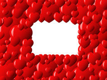 Valentine's card. Frame made of red hearts with empty space in the middle Royalty Free Stock Images