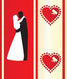Valentine's card with silhou Royalty Free Stock Images