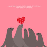 Valentine�s day card design with sea lions and heart Stock Photos
