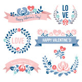 Valentine's day floral elements set Stock Photo