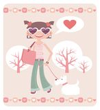 Valentine's day. Girl with dog Royalty Free Stock Images