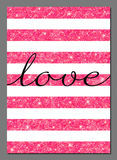 Valentine's Day glittering card design template Stock Image