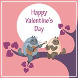 Valentines Day card with moon and cats Royalty Free Stock Photo