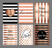 Valentine's Day greeting cards. Vector set Valentines Day modern cards in rose and black colors Royalty Free Stock Photos
