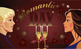 Valentine's day horizontal card, man and woman couple, lover pair, romantic day. Vector illustration of  valentine's day horizontal card, man and woman Royalty Free Stock Images