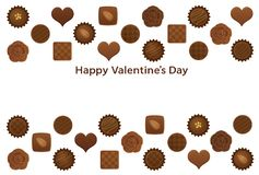 Valentine's Day postcard with various chocolates. Valentine's Day card with various chocolates Stock Images