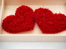 14 Valentine's Day red hearts royalty free stock image