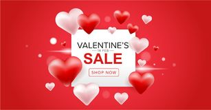 Valentine's day sale banner design with red and pink 3D heart balloons on red background. Valentine's day sale banner design with red and pink 3D heart Stock Photo
