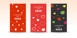 Valentine's Day sale banners. Set of Valentine's Day sale banners with hearts Royalty Free Stock Photos