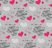 Valentine's Day Seamless pattern with cartoon cats and hearts. Stock Photography