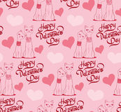 Valentine's Day Seamless pattern with cartoon cats and hearts. Stock Images