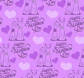 Valentine's Day Seamless pattern with cartoon cats and hearts. Stock Photo