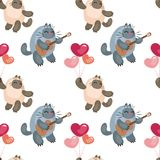 Valentine's Day seamless pattern with cute cats royalty free illustration