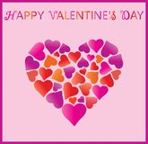 Valentine's day. Valentines day greeting card, hearts in heart and greeting inscription - Happy Valentine`s Day. Background with heart. Wallpaper, flyers Stock Image