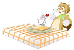 Valentine's Miracles!. Surprise! A mouse giving the cat that was about to eat it a bouquet of red flowers for Valentine's Day. Image could be used as a funny Stock Illustration
