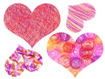 Valentine´s hearts drawing picture Stock Images