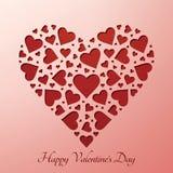 Valentineâs daghjärta på pappers- kort Arkivfoton