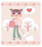 Valentineâs Tag. Mädchen mit Hund Lizenzfreie Stockbilder