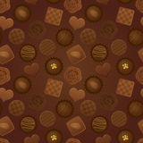 Valentine�s Day pattern with various chocolates. Royalty Free Stock Image