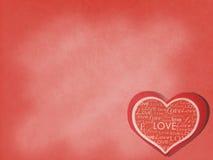 Valentine à l'arrière-plan d'amour Le papier rouge coupé au coeur aiment la carte de forme avec de divers mots d'amour de style s Photo libre de droits