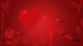 Valentine. A abstract valentine background with hearts swirls,flowing ribbons Royalty Free Stock Images
