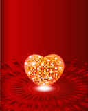 Valentine. Card with glow heart Stock Photography
