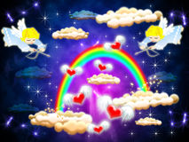 Valentine. Two angels shoot in flying from beneath rainbows heart Stock Photography