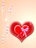 Valentine. Two red hearts bound with each other by tape with bow Stock Photography