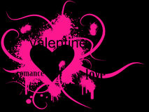 Valentine. 's day vector image with ink splats and vines. Funky and retro image Stock Images
