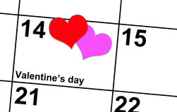Valentine. 's on the calendar with 2 hearts of love Stock Image