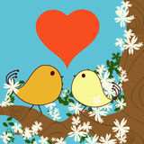 Valentine. Day background with love birds Royalty Free Stock Images