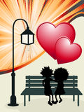 Valentine. 's Day post card, romantic layout with couple in love Royalty Free Stock Images