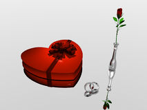 Valentine. A bryce rendering of  wedding rings, chocolate valentine box and a vase with a rose Stock Image