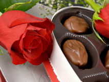 Valentine. A box of Valentine candy and roses stock images