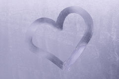 Valentine. Drawn on a frozen window Royalty Free Stock Image