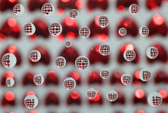 Valentine. Water beads reflecting heart shapes stock photo
