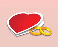 Valentine. And two wedding rings. Vector royalty free illustration