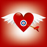 Valentine. S Heart with wings and cupids arrow Royalty Free Stock Image