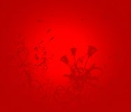 Valentine. Red Valentine background with roses and plants Vector Illustration