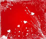 Valentine. Red Valentine background with hearts and foliages Stock Images