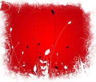 Valentine. Foliage red background with white frame and some black plants Stock Illustration