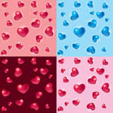 Valentine 3D hearts backgrounds. Vector set of 3D Valentine heart patterns Stock Photos