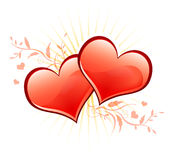 Valentine. Two loving red hearts and flowers Royalty Free Stock Images