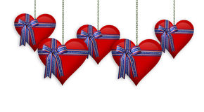 Valentine or 4th of July Hearts border. Illustrated red hearts, patriotic ribbons for Valentines day greeting card, invitation,4th of July border or background Royalty Free Stock Image